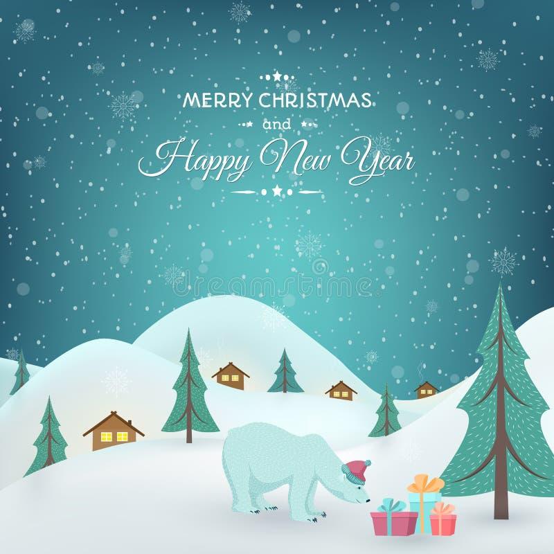 Ano novo do Xmas dos presentes do urso polar do campo do inverno ilustração stock