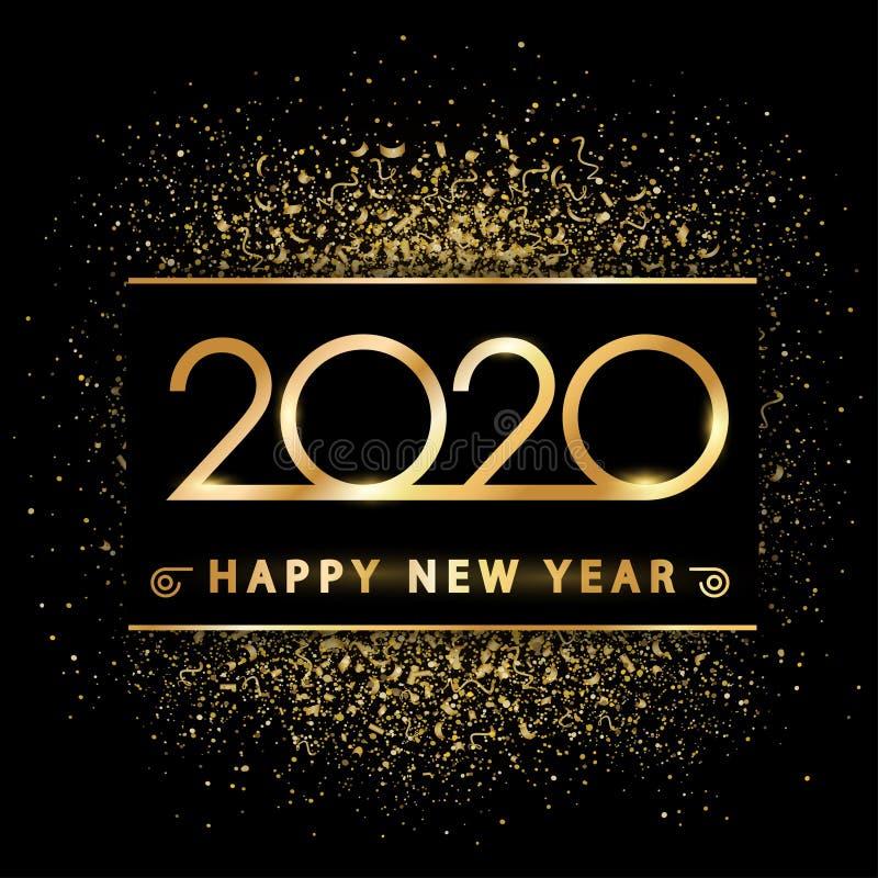 Ano novo dourado 2020 sobre poeira do ouro - vetor imagens de stock