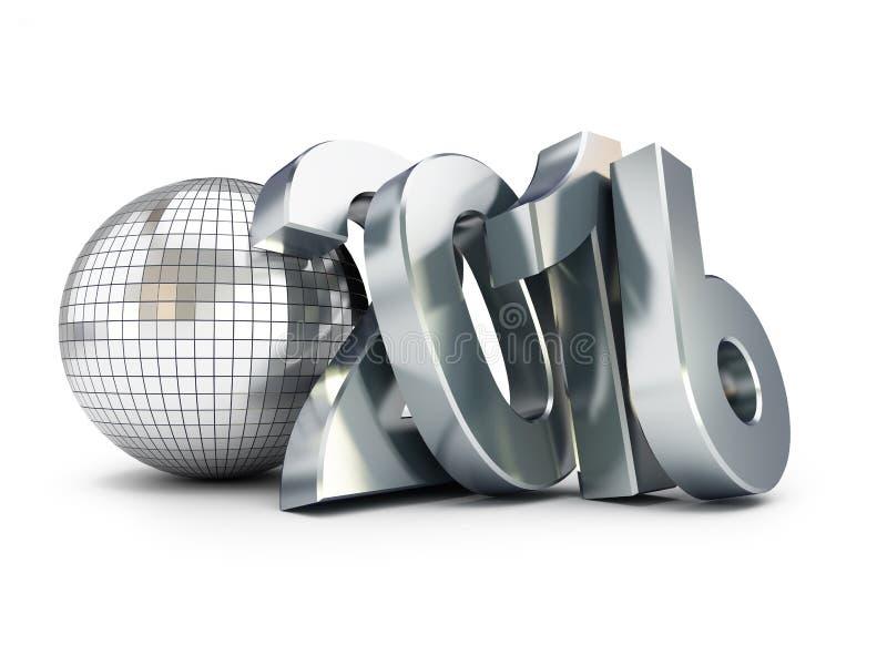 Ano novo 2016 e bola do disco ilustração 3D ilustração royalty free