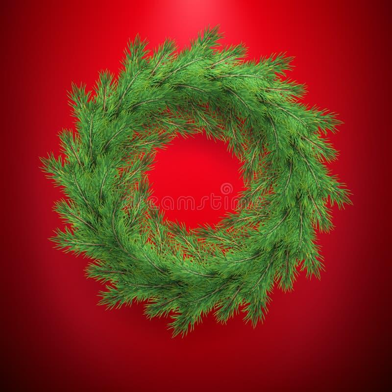 Ano novo e de grinalda do Natal quadro do molde do cumprimento Decoração tradicional do inverno com ramos verdes sempre-verdes EP ilustração royalty free