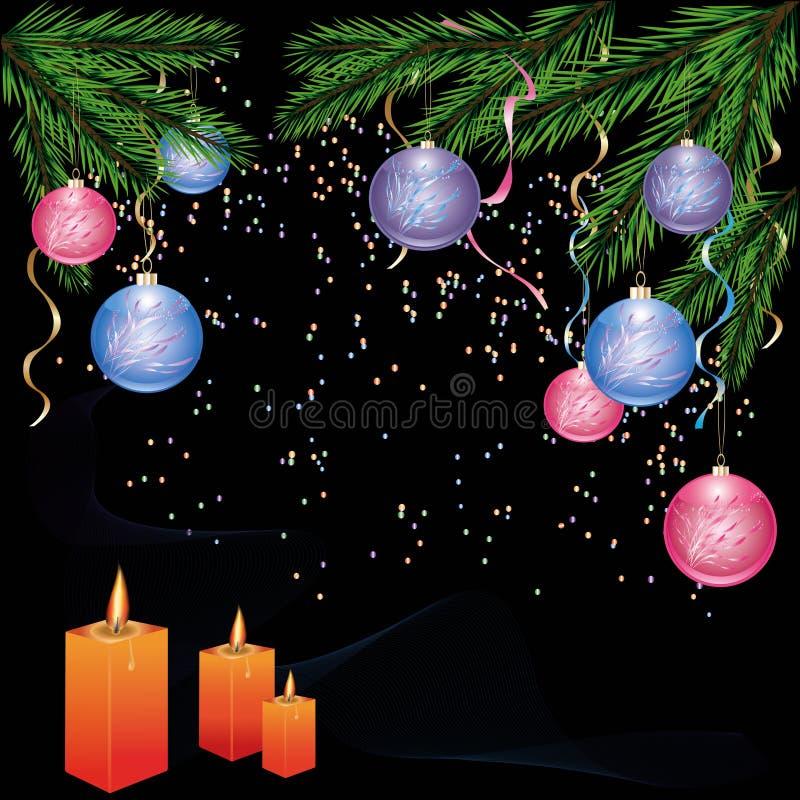 Ano novo e fundo de Cristmas com decorações ilustração royalty free