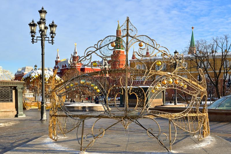 Ano novo e Natal Decoração do Natal no quadrado de Manege na frente do Kremlin moscow imagem de stock royalty free