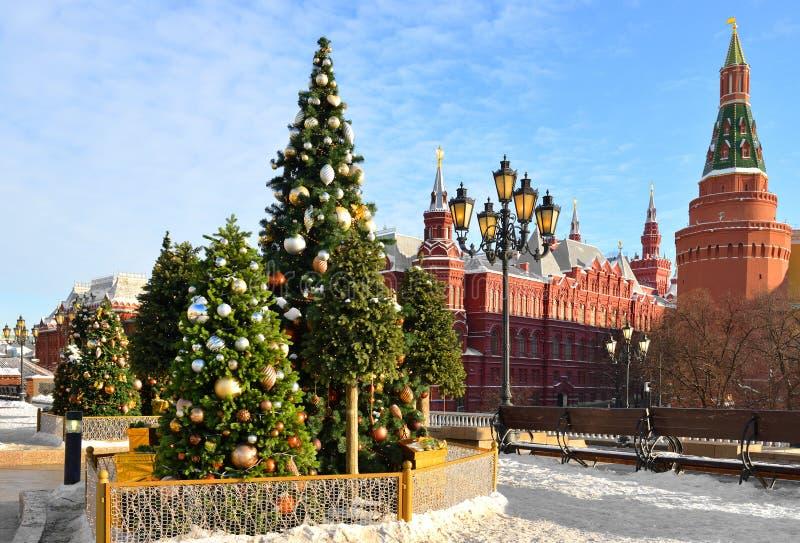 Ano novo e Natal em Moscou Árvores de Natal perto do Kremlin no quadrado de Manege Rússia foto de stock