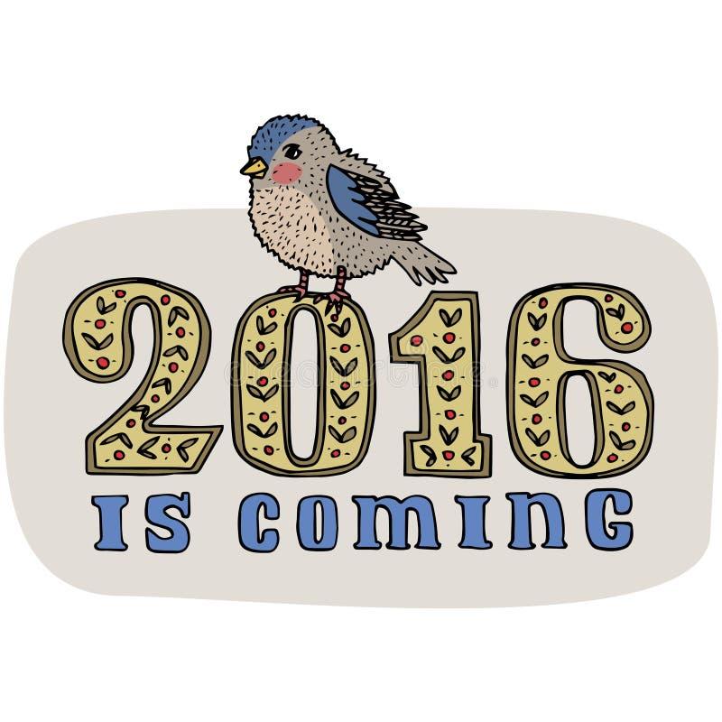 Ano novo e projeto de cartão do Natal Pássaro tirado mão do dom-fafe isolado no fundo O ano novo é título de vinda Vetor ilustração do vetor