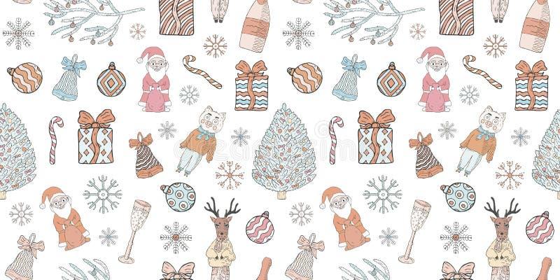 Ano novo e teste padrão sem emenda do Natal Garatujas em um fundo branco ilustração stock