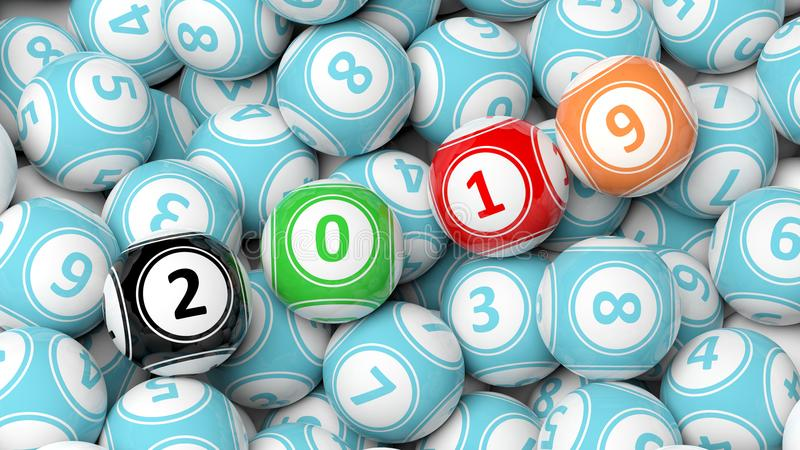 Ano novo 2019 em bolas do bingo Fundo do montão das bolas da loteria do Bingo ilustração 3D ilustração royalty free