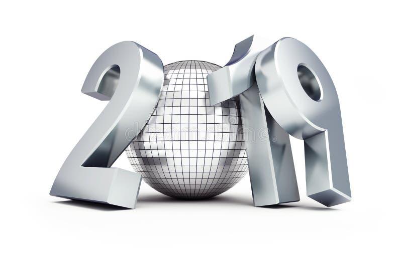 Ano novo 2019 em uma ilustração branca do fundo 3D, da bola do disco rendição 3D ilustração royalty free