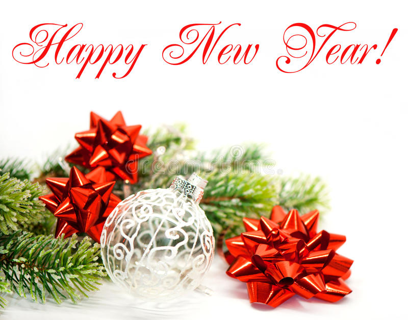 Ano novo feliz. árvore verde e fitas vermelhas imagens de stock royalty free