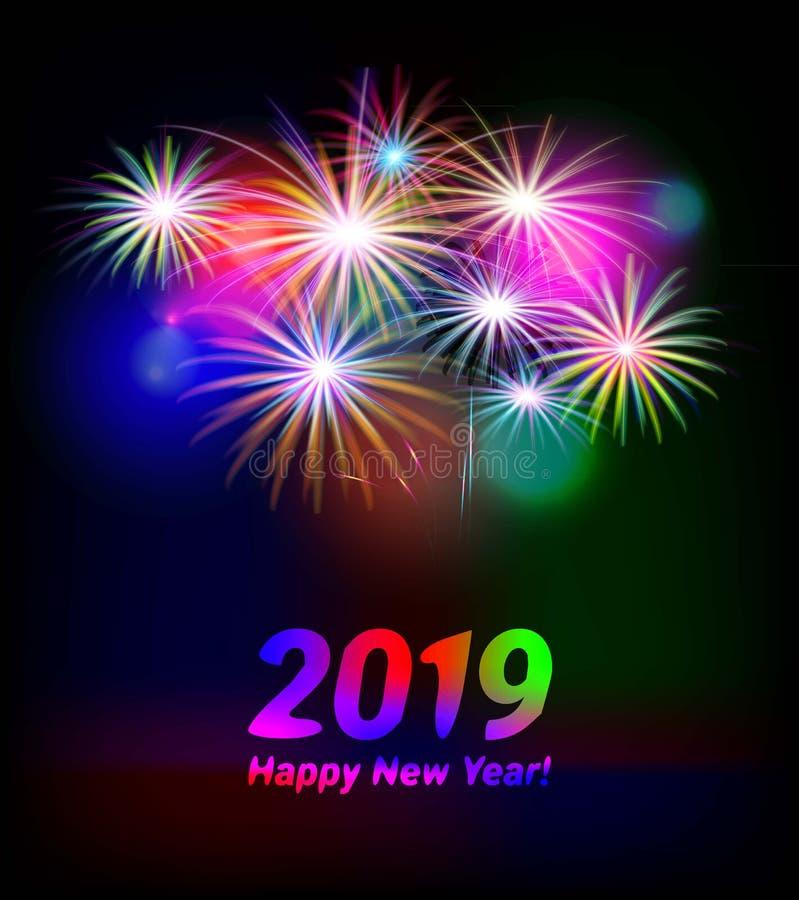 2019, ano novo feliz ilustração stock
