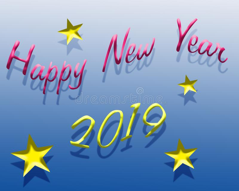 Ano novo feliz 2019 ilustração stock