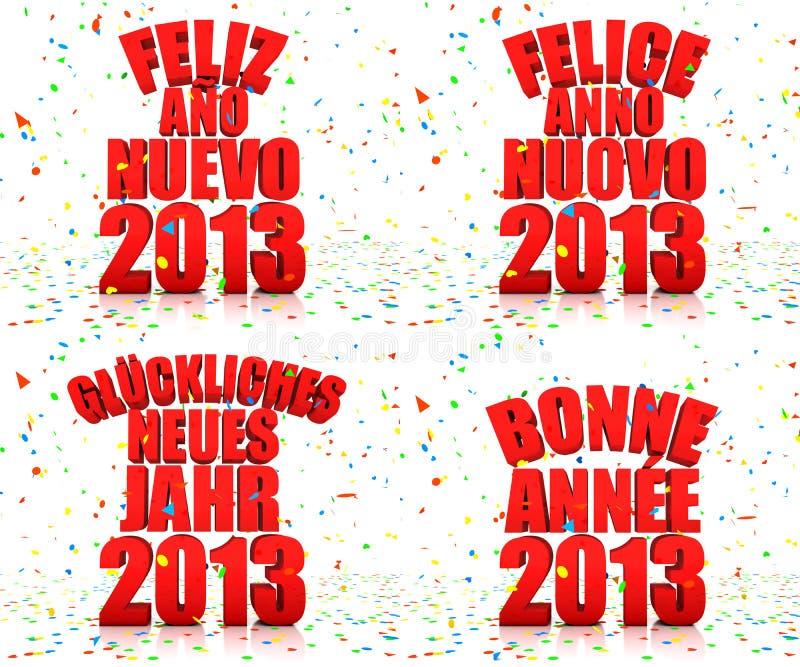 Ano Novo Feliz 2013 Em Várias Línguas Fotos de Stock