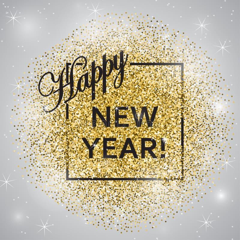 Ano novo feliz Ano novo do brilho do ouro Fundo do ouro para o inseto, cartaz, sinal, bandeira, Web, encabeçamento ilustração stock