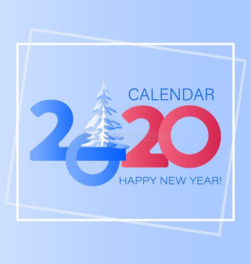 Ano novo feliz 2020 anos com os grandes números principais e o abeto vermelho coberto de neve ilustração royalty free
