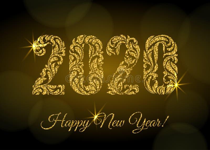 Ano novo feliz 2020 As figuras de um ornamento floral com brilho dourado e faíscas em um fundo escuro com bokeh