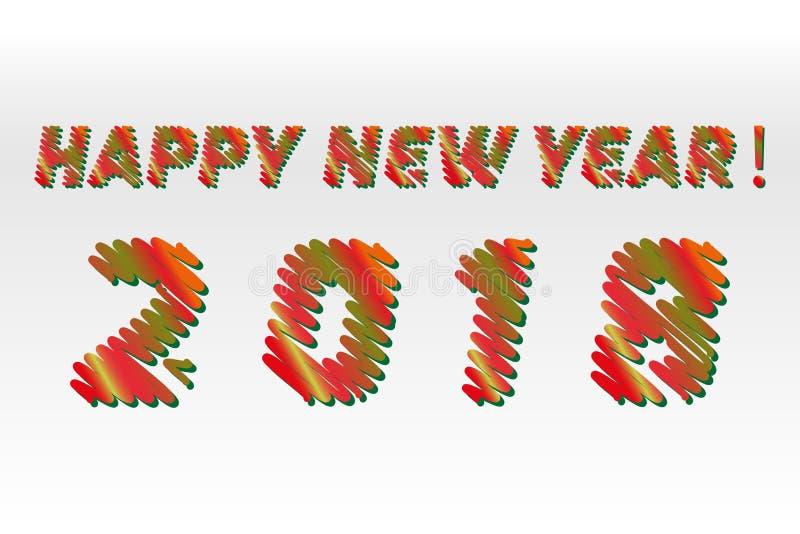 Ano novo feliz 2018 As letras diferentes das cores do esboço são feitas como um garrancho Coleção do vetor das fontes coloridas d ilustração stock