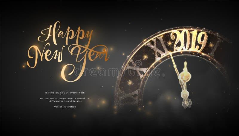 Ano novo feliz 2019 Baixa arte poli do wireframe no blackbackground Conceito para o feriado ou a mágica ou o milagre Céu estrelad ilustração stock