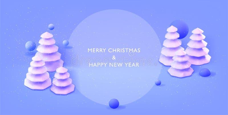 Ano novo feliz, bandeira do Feliz Natal Fundo do cartaz com placefor seu texto Conceito mínimo moderno do ano novo feliz ilustração do vetor