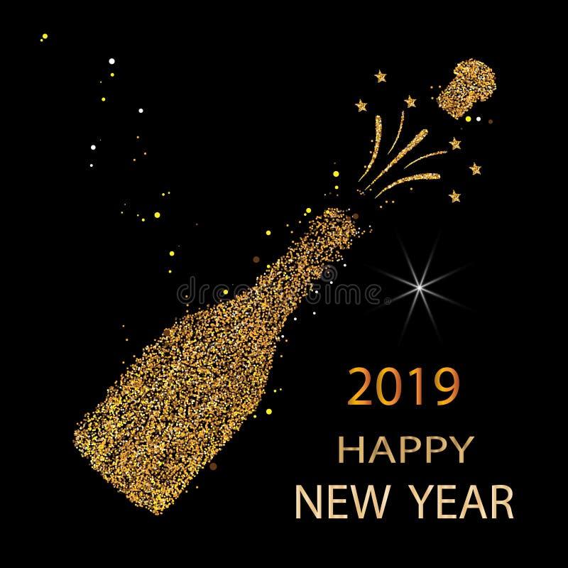 Ano novo feliz Brilho 2019 do ouro Ícone de Champagne Silhueta de uma garrafa do champanhe Vetor ilustração do vetor