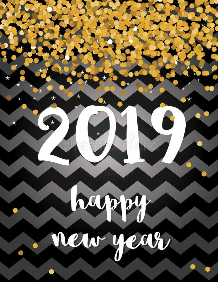 Ano novo feliz Cartão novo abstrato elegante de um vetor de 2019 anos com confetes de queda do ouro ilustração stock
