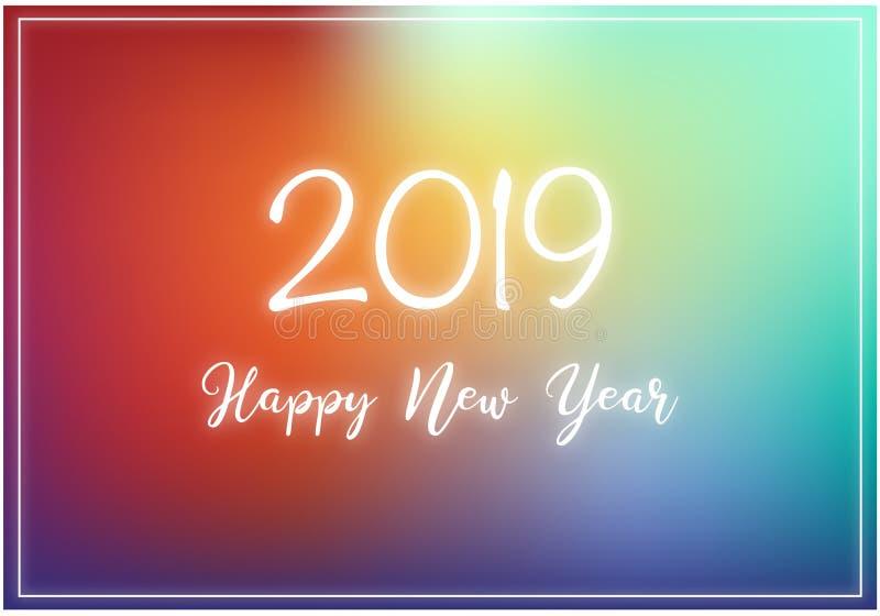 Ano novo feliz 2019 - cartão escrito à mão do ano novo ilustração do vetor