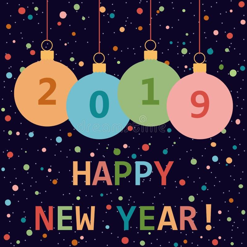 Ano novo feliz 2019! Cartão Ilustração do vetor ilustração royalty free
