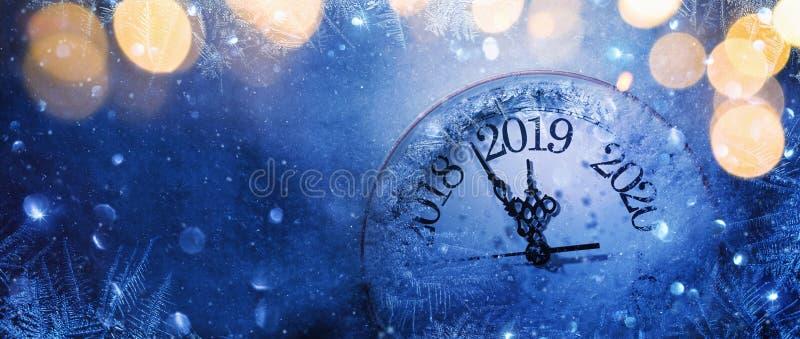 Ano novo feliz 2019 Celebração do inverno imagens de stock