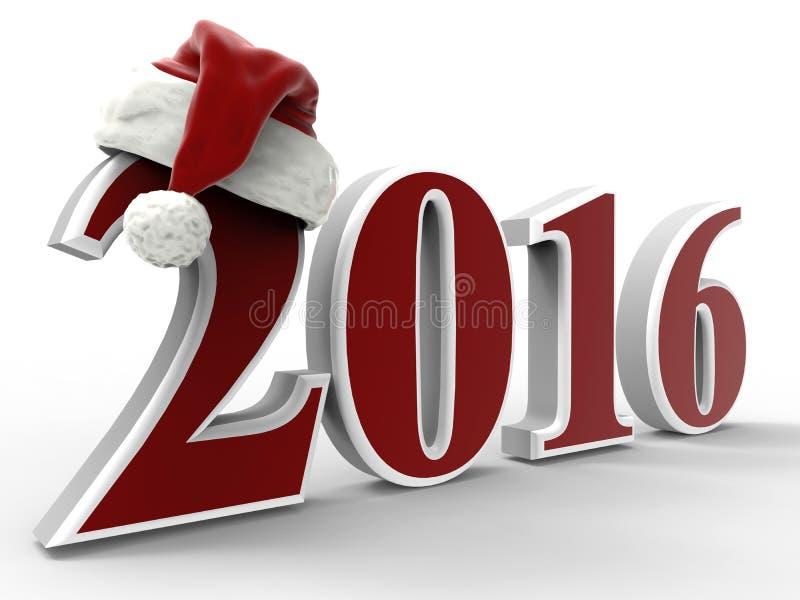 Ano novo feliz 2016 - chapéu de Santa ilustração do vetor