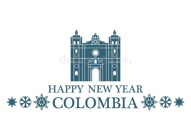 Ano novo feliz Colômbia ilustração royalty free