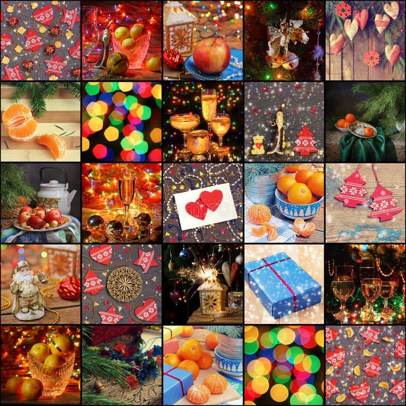Ano novo feliz! Colagem das imagens de ano novo imagens de stock royalty free