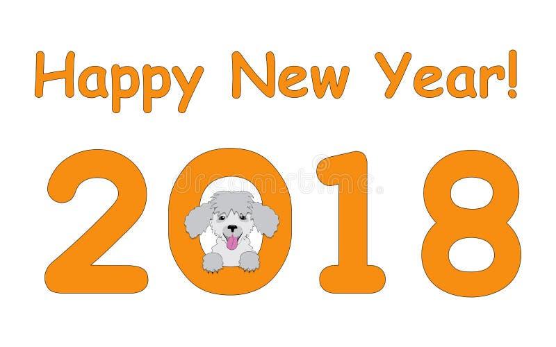 Ano novo feliz com caniche ilustração stock
