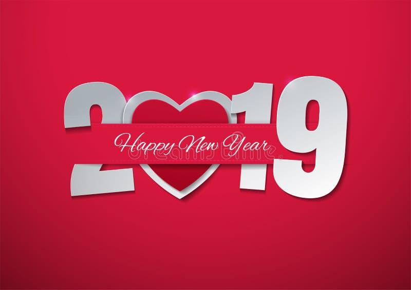 Ano novo feliz 2019 com coração no fundo cor-de-rosa ilustração do vetor