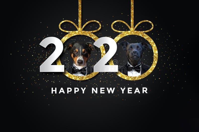 Ano novo feliz 2020 com dois cães ilustração stock