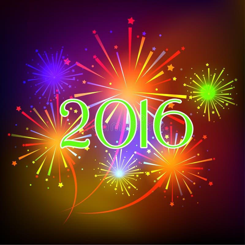 Ano novo feliz 2016 com fundo do feriado dos fogos-de-artifício ilustração do vetor