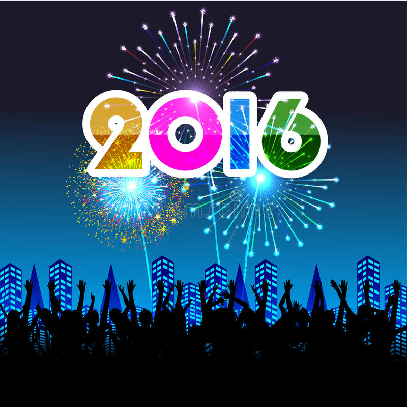 Ano novo feliz 2016 com fundo dos fogos-de-artifício