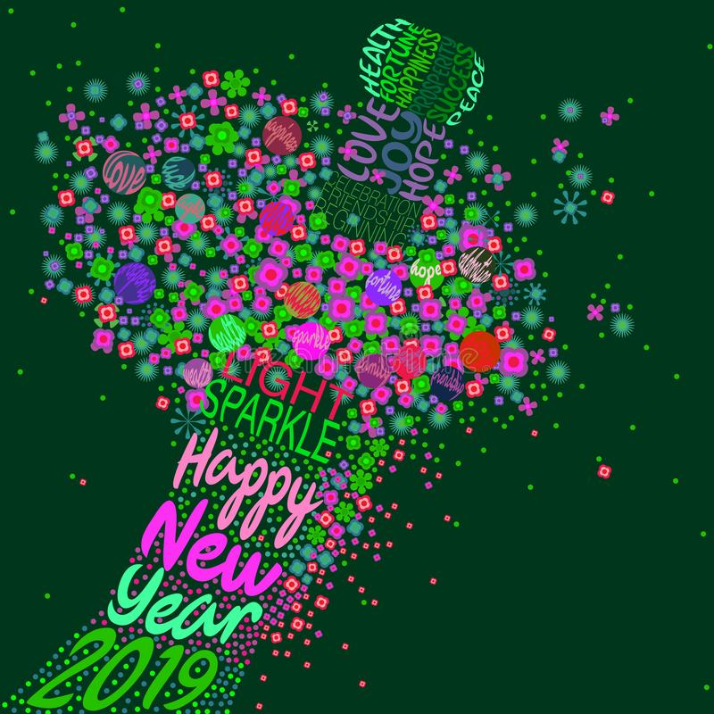 Ano novo feliz 2019 com uma explosão floral ilustração do vetor