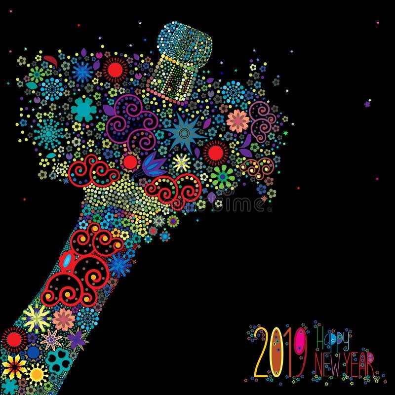Ano novo feliz 2019 com uma explosão floral ilustração royalty free