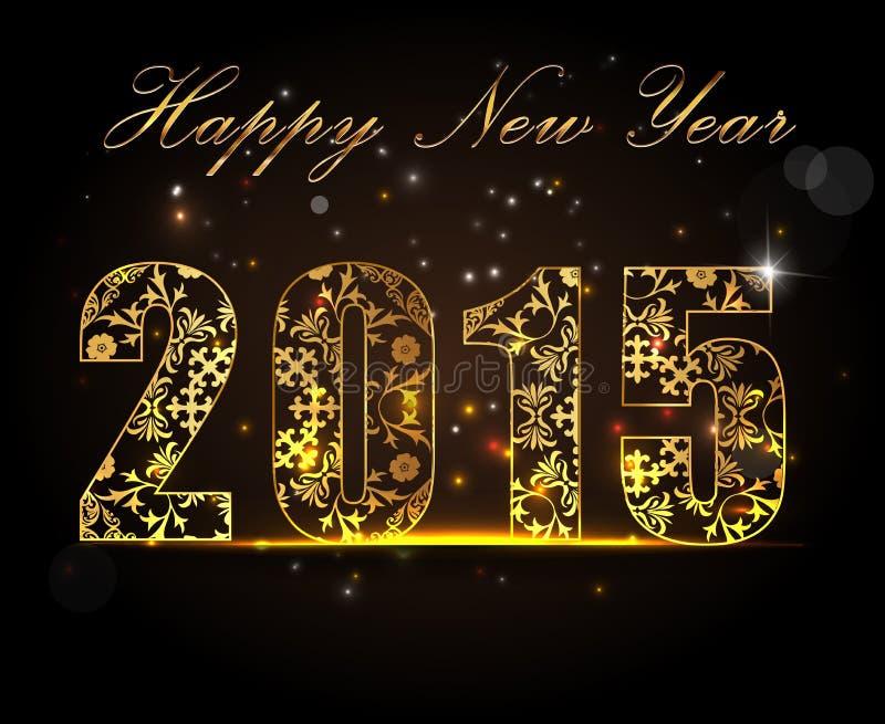 Ano novo feliz 2015, conceito da celebração com texto dourado ilustração do vetor