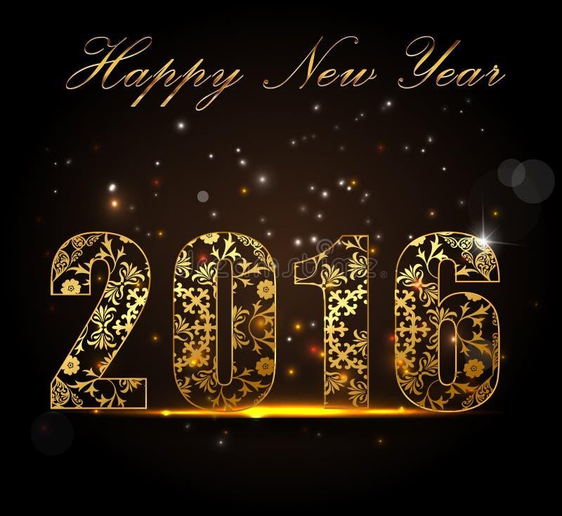Ano novo feliz 2016, conceito da celebração com texto dourado no fulgor bonito na noite ilustração royalty free