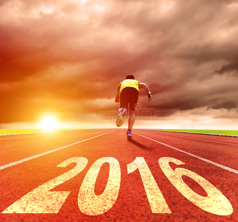Ano novo feliz 2016 Corredor do homem novo fotografia de stock
