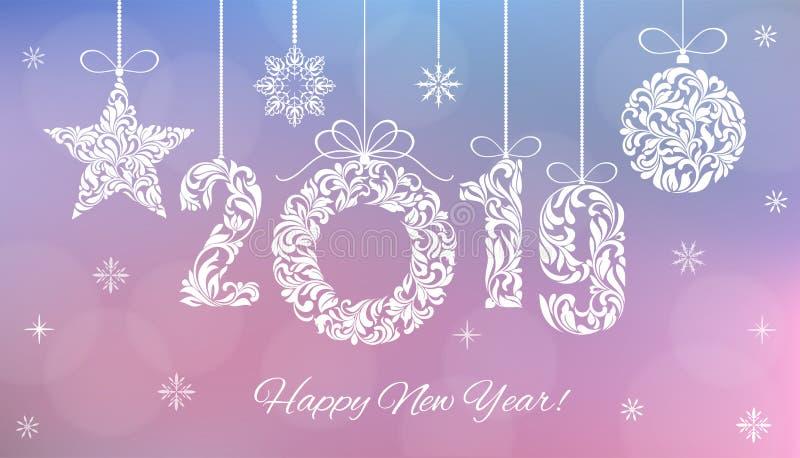 Ano novo feliz Dígitos 2019, bola do Natal, estrela feita de elementos florais Fundo borrado ilustração royalty free