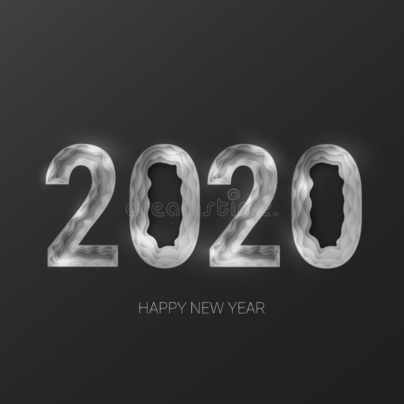Ano novo feliz 2020 3d corte de papel abstrato criativo eps 10 ilustração royalty free