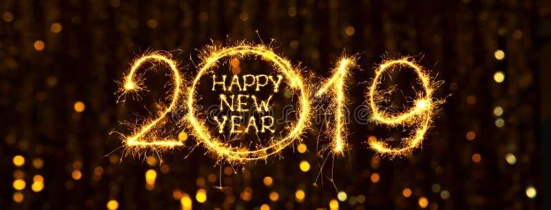 Ano novo feliz 2019 da bandeira larga da Web do feriado do ângulo ilustração stock