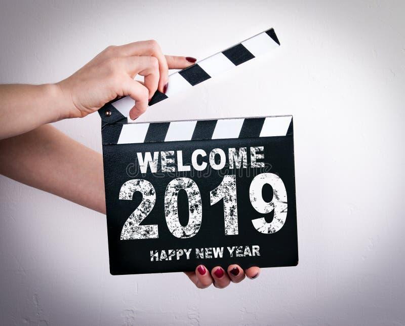 Ano novo feliz da boa vinda 2019 foto de stock