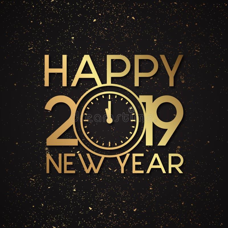 Ano novo feliz 2019 da letra luxuosa com efeito do vetor do grunge do ouro ilustração stock