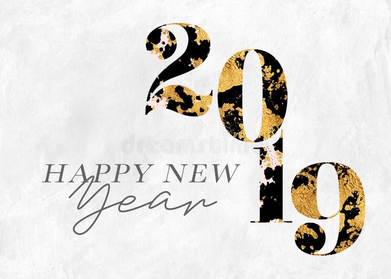 Ano novo feliz 2019 de folha de ouro ilustração do vetor