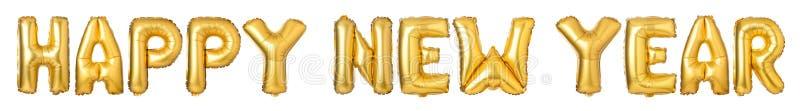 ANO NOVO FELIZ de letras de caixa dos balões dourados foto de stock
