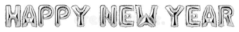 ANO NOVO FELIZ de letras de caixa dos balões de prata ilustração do vetor