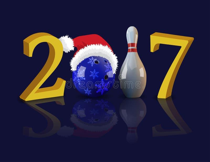 Ano novo feliz de rolamento 2017 com bola e pino de boliches ilustração stock