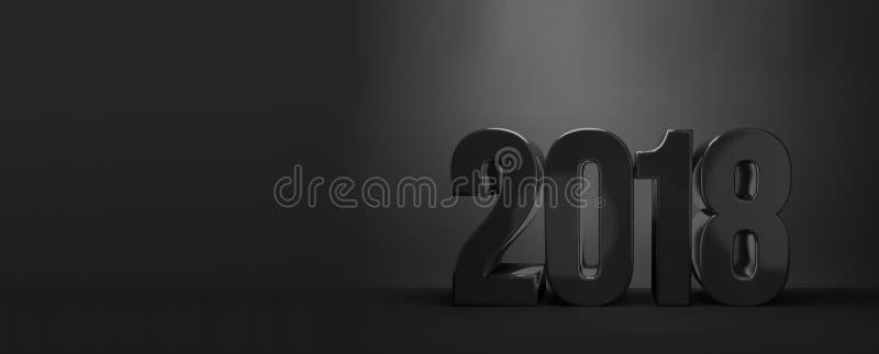2018 Ano novo feliz 2018 de Sylvester 3d rendem ilustração do vetor