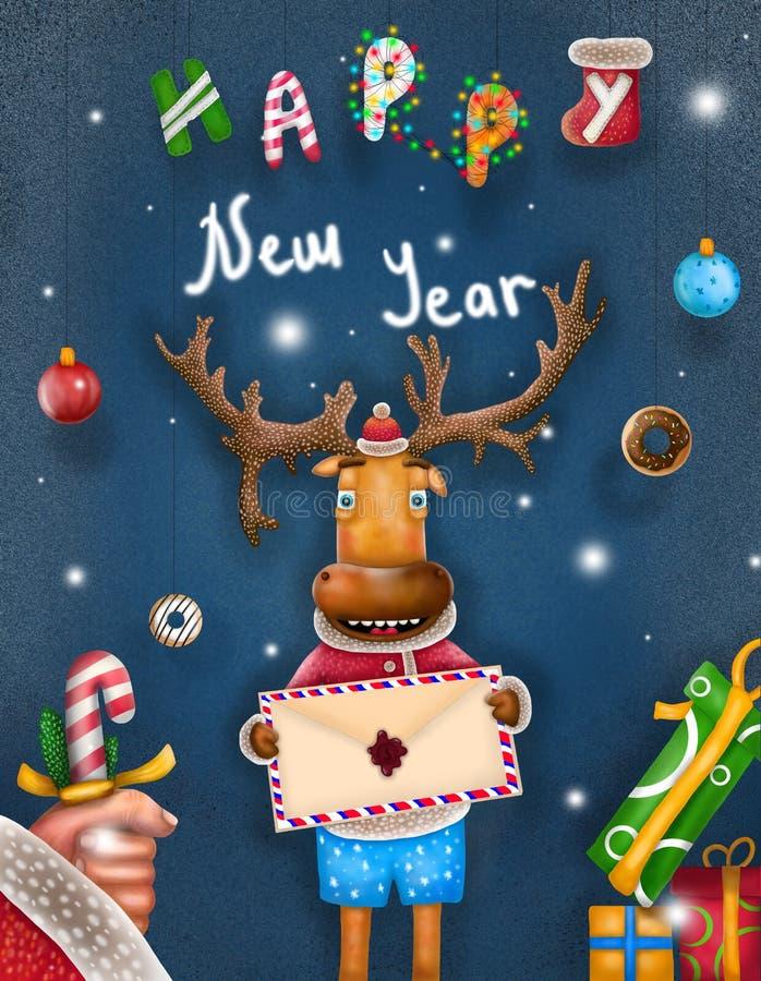 Ano novo feliz do cartão com cervos ilustração stock
